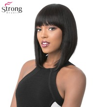 StrongBeauty Womens Wigs Neat Bang Bob Style Short Straight Hair Black/Blonde Synthetic Full Wig 6 Color