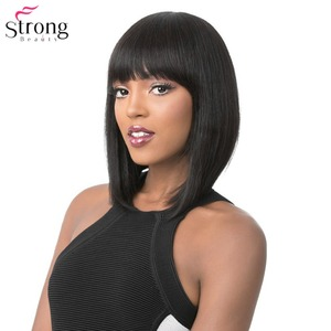Image 1 - StrongBeauty Womens Wigs Neat Bang Bob Style Short Straight Hair Black/Blonde Synthetic Full Wig 6 Color
