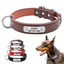 Большой прочный персонализированный ошейник для собак из искусственной кожи с мягкими вставками для домашних животных, идентификационные ошейники на заказ для маленьких средних и больших собак, кошек, 4 размера