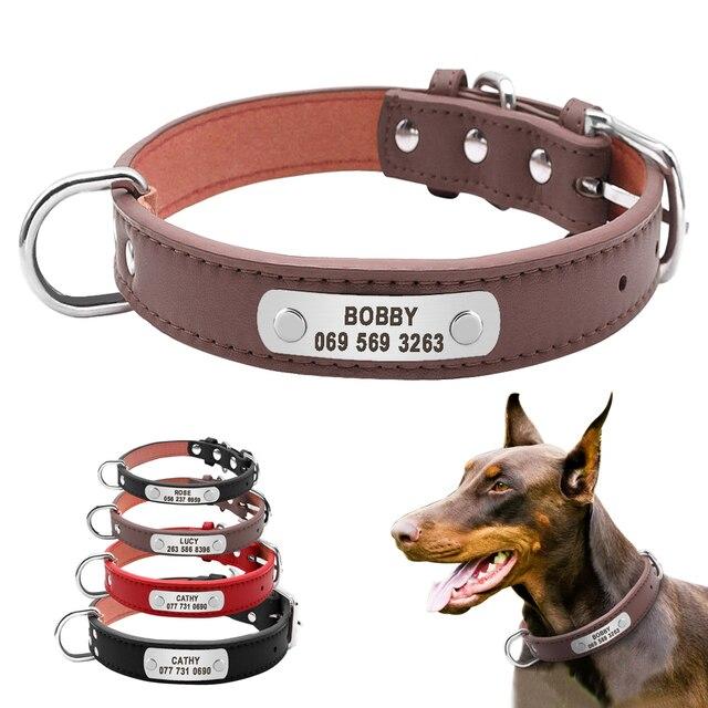 大丈夫パーソナライズ犬の首輪 Pu レザーペット ID 首輪カスタマイズ小中大犬猫 4 サイズ