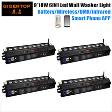 Freeshipping 4 Unit Rechargeable Battery&Wireless 9x18W LED Wall Washer Light 6in1 Slim LED BAR Light DJ Black DMX Stage Lights