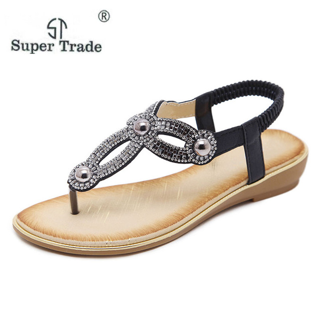 d6796ba69 Large Size 2018 New European And American Fashion Sandals Flower Rhinestone  Flat Shoes High Grade Women S Sandals With Rhineston