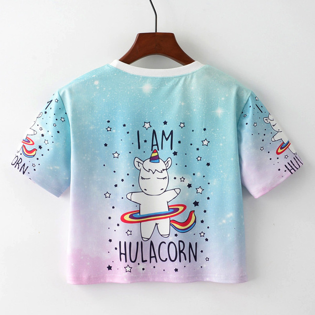 Cute Unicorn Printed Women's Crop T-Shirt