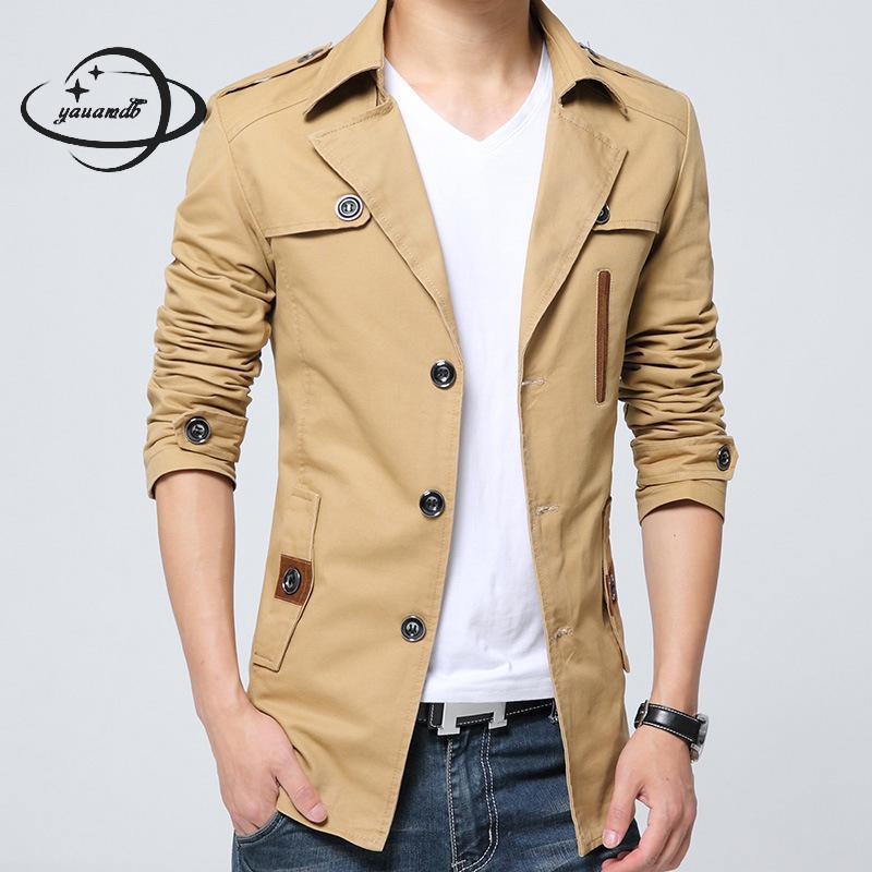 YAUAMDB trench coat 2018 spring autumn size M-4XL cotton male jacket clothing