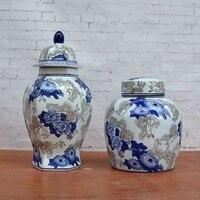 Новый китайский синий и белый фарфор декоративные керамические украшения сосна шаблон бак модель дом гостиная украшения