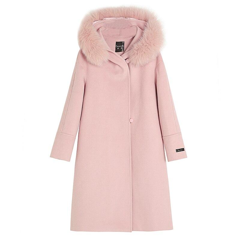 Casaco De Lã das Mulheres de alta qualidade Tamanho Grande Dw117 Mm2019 Inverno Novo Casaco De Lã Elegante Casaco de Lã Cor de Rosa - 5
