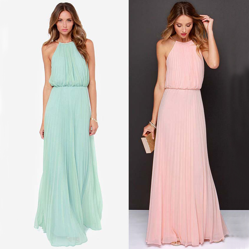WB8022 Pink Turquoise Bridesmaid Dresses 2016 Halter Neck