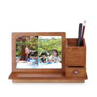 Pastoral 7 inch wooden photo frame pen holder storage combination box Simple wooden frame With drawers home decoration