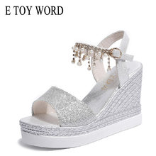 E TOY WORD Pink Sandals 2019 Fashion summer ladies shoes High Heels wedge Platform sandals Bead buckle Women Sandals silver(China)
