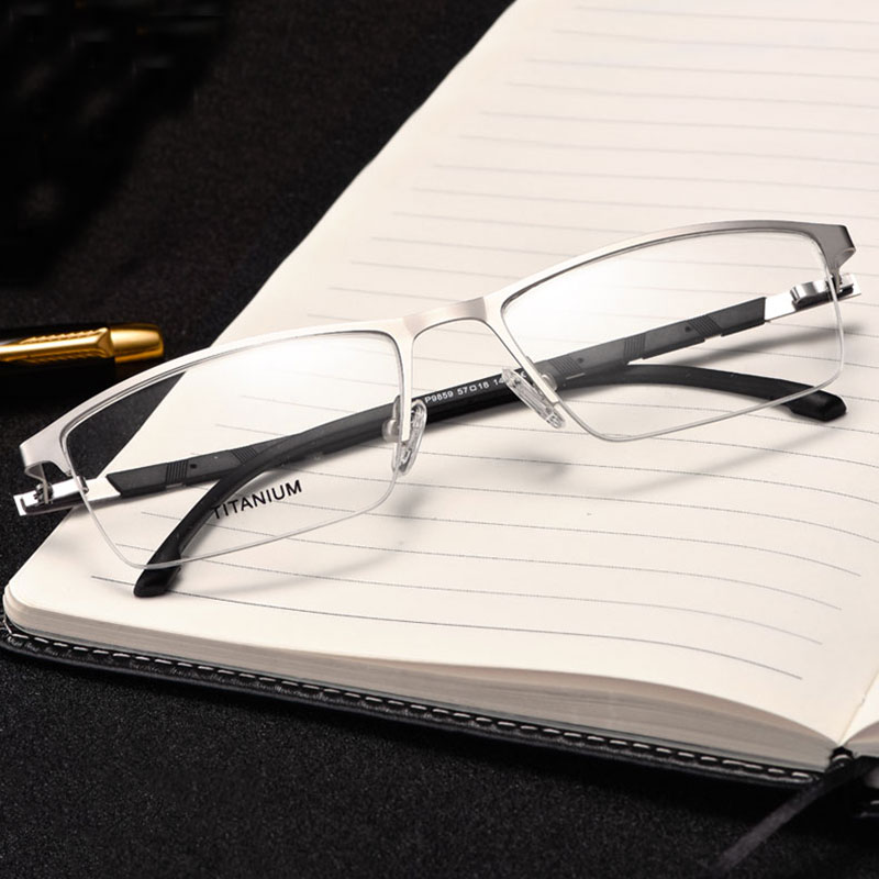Reven Jate P9859 אופטי עסקים חצי ללא שפה משקפיים מסגרת המשקפיים טיטניום לגברים Eyewear עם 4 צבעים אופציונליים