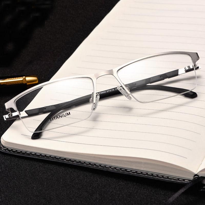 Reven Jate P9859 Optical Business Titanium Frame Eyeglasses For Eyewear Semi-Rim Glasses With 4 Optional Colors