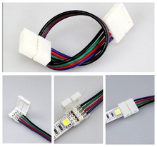 цена на 4 Pin LED Connector Cable Wire PCB Board Adapter for 10mm 5050 3528 RGB Led Strip Light Connectors