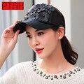 Ptah mulheres gorras snapback chapéu de basebol hip hop couro leder preto senhora de boa qualidade marca casquette tampão ajustável 6016