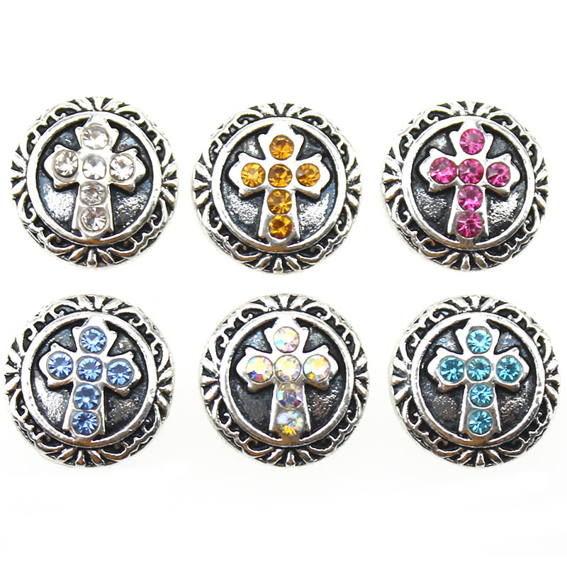 10pcs/lot New 12mm Snap Jewelry Religion Cross Round Rhinestone Snap Button for 12mm Snap Bracelets Necklaces DIY Jewelry image