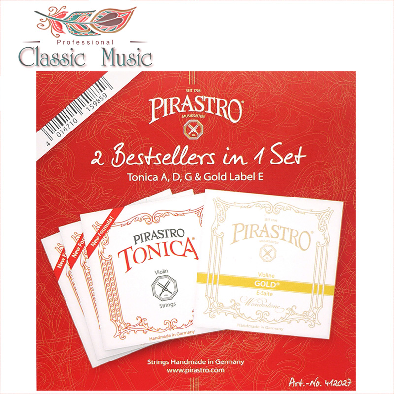 Pirastro 2 Best In 1 Set (412027) Violin Strings, Tonica A,G D & Gold Label E String, Ball End ,Made In Germany