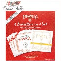 Pirastro 2 melhor em 1 conjunto (412027) cordas de violino, tonica a, g d & gold etiqueta e corda, bola final, feito na alemanha