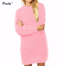 Long sleeve round neck plush dress