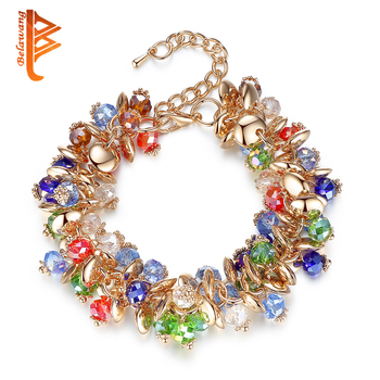 90e81db34265 BELAWANG encanto pulseras y brazaletes de piedra de cristal de moda pulseras  de oro para las mujeres pulseras de la amistad de Navidad joyería de perlas
