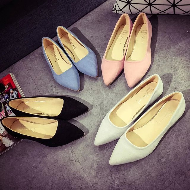 2017 autumn fashion pointed toe velvet sexy fashion flat shallow mouth single shoes fashion nude color