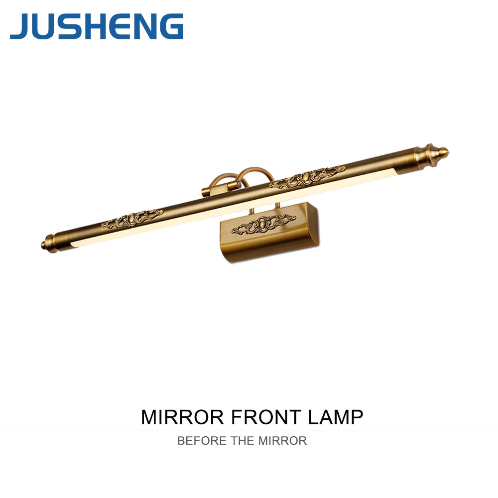 JUSHENG Classic Antique Brass LED Wall Lamps in Bathroom with Swing ...