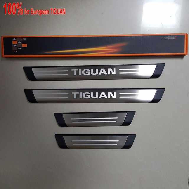 New for EUR vw Volkswagen Tiguan door sills stainless steel scuff plate thresholds sticker accessories 4 pcs