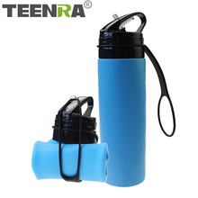 TEENRA 1Pcs 600ML Collapsible Water Bottle Sport Silicone Drinking Bottle Bicyle Protein Shaker Sport Bottle For Water Travel
