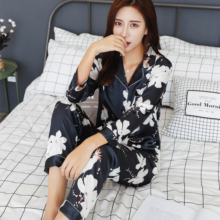 Pyjamas 2018 Autumn Winter Satin Sleepwear Pijamas Silk Feeling Long Sleeve Flower Print Pajamas Sets for Women Pijama Feminino