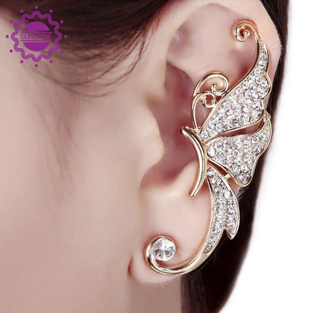 1pc Women Cute Rhinestone Crystal Butterfly Ear Cuff Clip Cartilage Stud  Earring Ear Clip Fine Jewelry