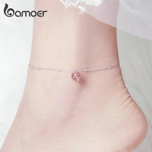 bamoer Round Bead Silver Bracelet for Leg 925 Sterling Silver Anklets for Women Natural Crystal Stone Fashion Jewelry  SCT012