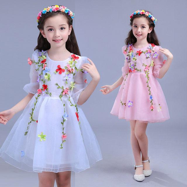 Online Shop Summer Kids Girls Flowers Fairy Formal Girl Party Dress