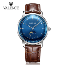 Valence Top Brand Luxury Watches Men Business Moon Phase Quartz Wristwatches Ultra Thin Genuine Leather Whatch Relojes VC-063