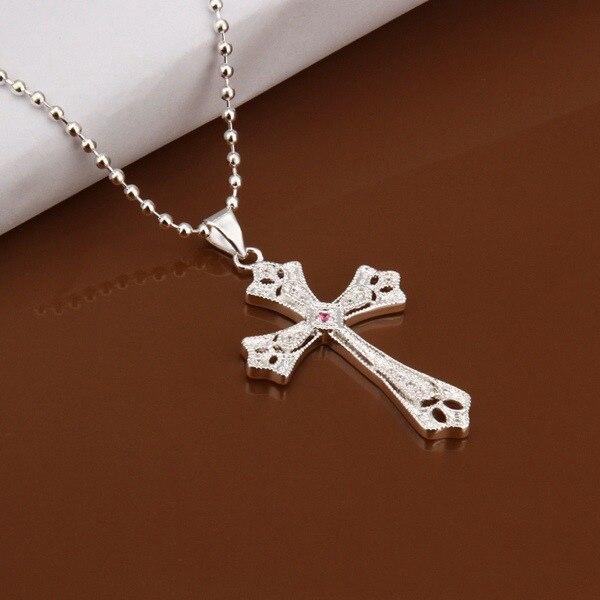 9ed4a9124a55 Collar 925 collar de plata 925 18 pulgadas cadena Colgantes Cruz joyería  libre amzn ln396