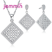 Jemmin Hollow Minimalist Design Square Cubic Jewelry Set S90 Silver Color Earrings/Necklace For Women Fine Jewelry.