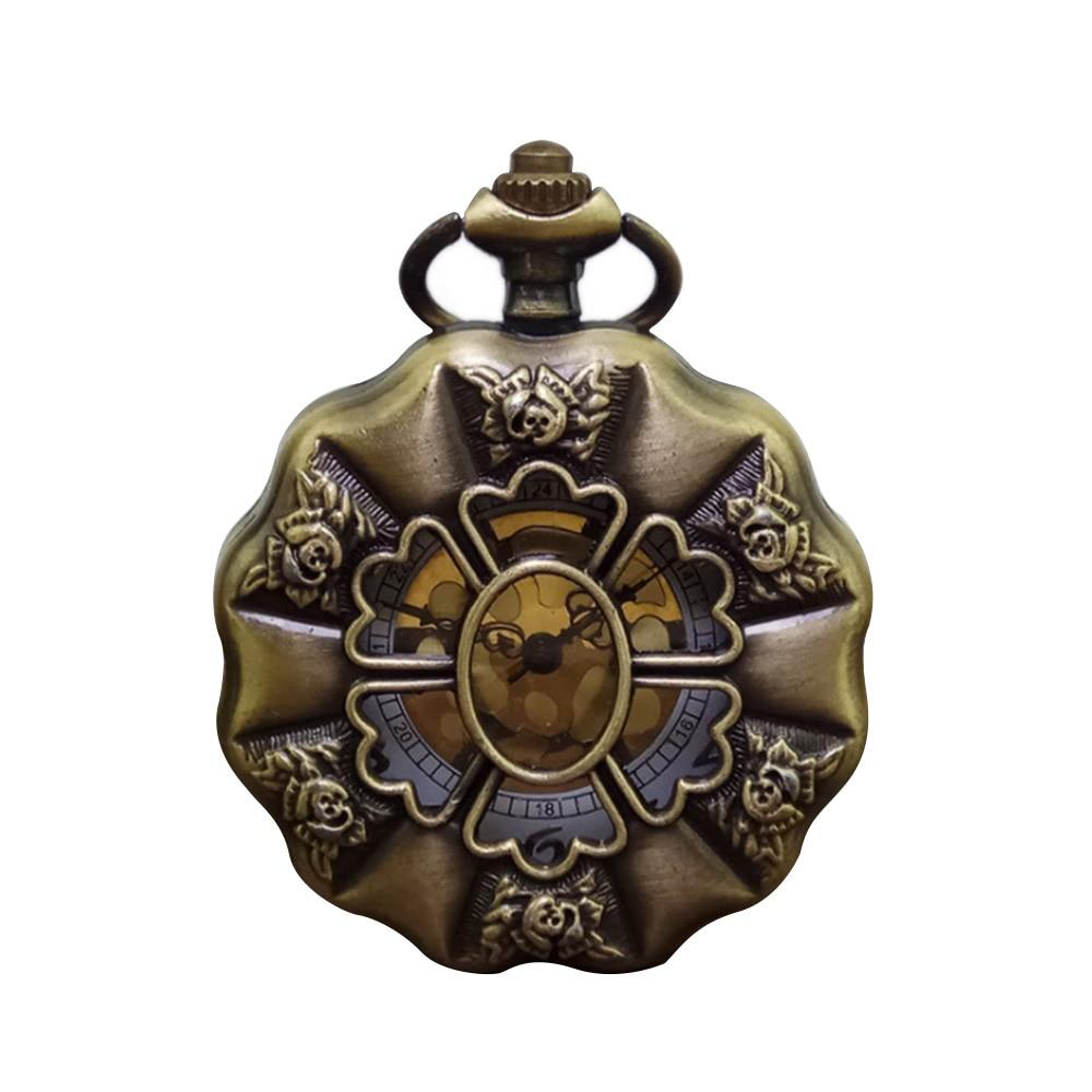 Vintage Charm Bronze Sunflower Full Steel Steampunk Unisex Pocket Watch Fashion Hollow Analog Skeleton Men Women Pocket Watch