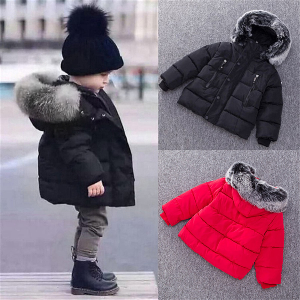 Children Down jacket Winter Warm Jackets With Fur Baby Boy Girl Solid Overcoat Hooded Winter Jacket Kid Clothing Coat new children down jacket winter warm jackets with fur baby boy girl solid overcoat hooded winter jacket kid clothing coat