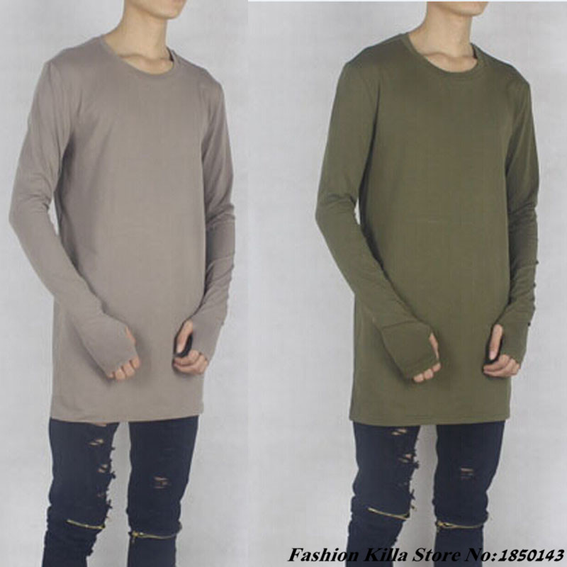 Extra Long Sleeve Mens Thumb Hole Oversized T Shirts Base ...
