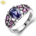 Hutang Natural Amethyst & Rhodolite Solid 925 Sterling Silver Ring For Women Party Fine Jewelry Genuine Gemstone