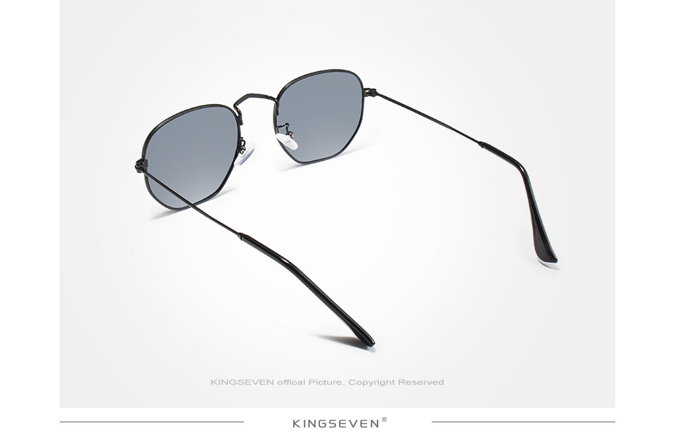 KINGSEVEN 2019 Classic Reflective Sunglasses Men Hexagon Retro Sun glasses Stainless Steel Eyewear Oculos Gafas De Sol Shades