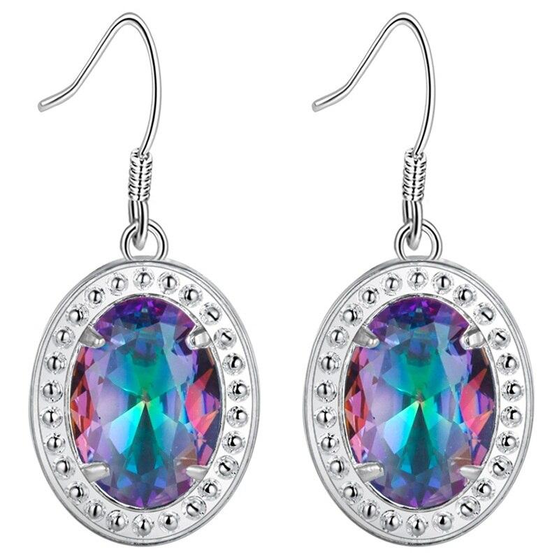 Mystic many color Zircon 925 Silver Costume Jewelry Women Earrings Set Jewelery