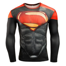 Superman 3D Printed T-shirts Men's Long Sleeve Quick Dry Fitness Running Training Slim Fit Compression Shirts Cosplay Costume