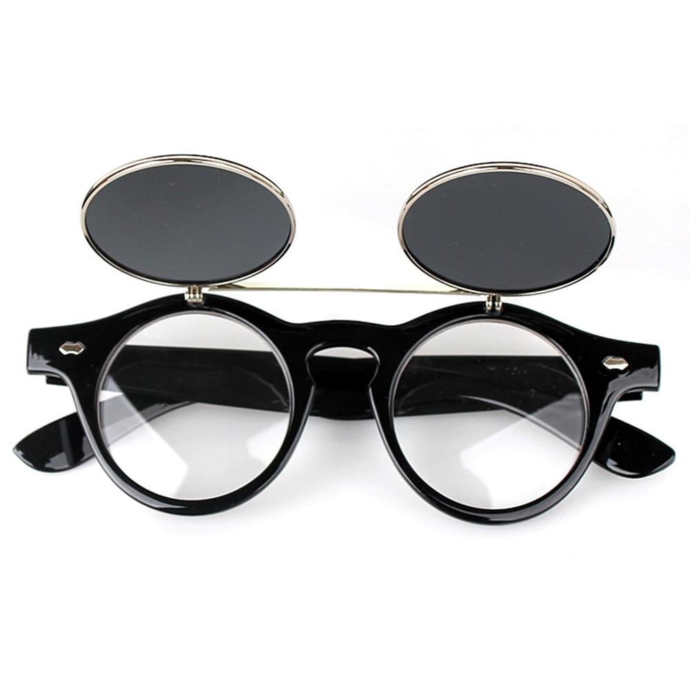 Ulasan Tentang 1 Pair Unisex Flip Up Retro Round Lingkaran Cermin Lensa Lebar Kaki Kacamata Nuansa Matahari Kacamata Hitam