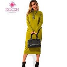 PZLCXH New Arrival Autumn Dress Women 2017 Solid Long Sleeve Casual Long Dress Loose Dresses for Women Vestidos Plus Size DQ040