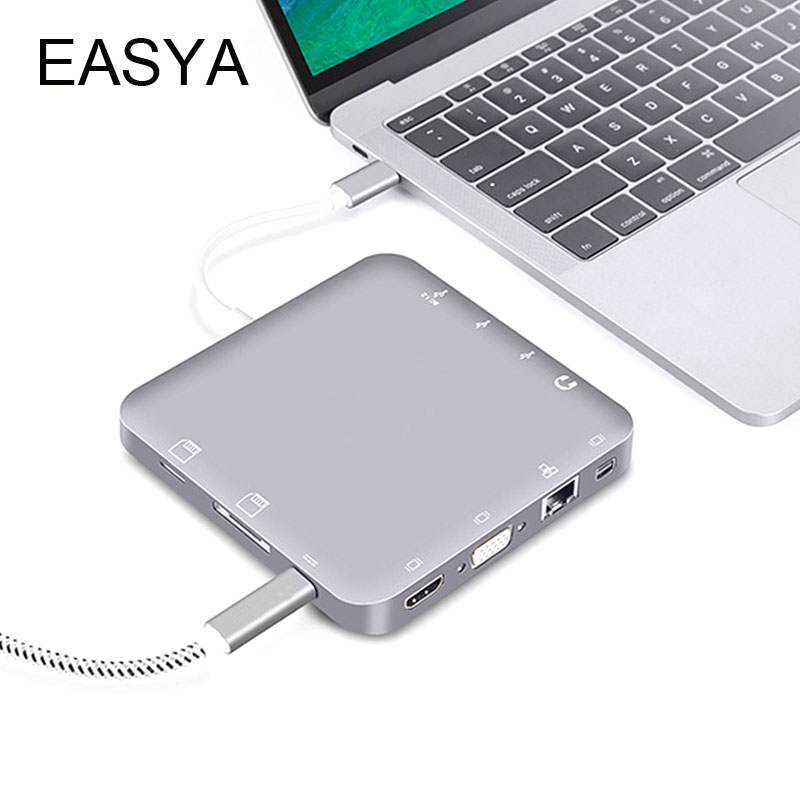 EASYA USB C Hub to HDMI 4K/VGA/DP/Rj45/Stereo/SD Card/TF Card/USB 3.0 Hub Thunderbolt 3 USB 3.1 Type-c with PD for Macbook Pro havit 6 in 1 pd charging 40gb 4k video output thunderbolt 3 type c sd microsd card reader usb 3 0 hub for macbook pro1315 t90