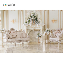 Laeacco Palace Interior Fireplace Armchairs Flowers Christmas Photography Backgrounds Photographic Backdrops For Photo Studio