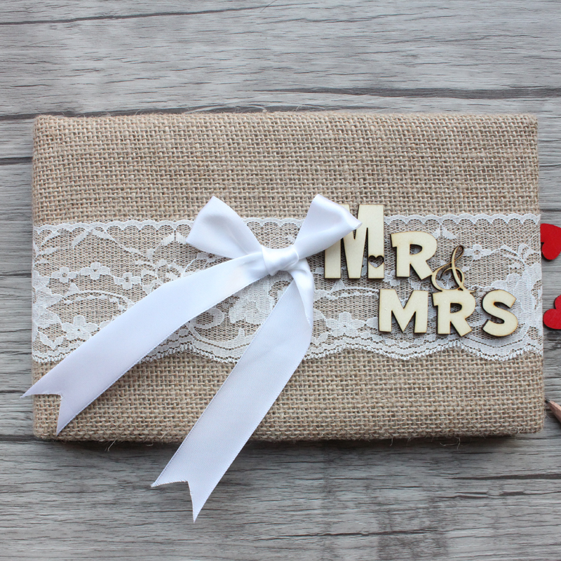 Personalized Wedding Guest Book Rustic Burlap Wedding Guest Book Mr & Mrs Anniversary Guestbook Vintage Sign Book Wedding Decor
