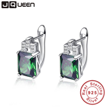 Brand Silver 925 Jewelry Green Hope Emerald Cut 925 Sterling Silver Earrings Emerald Clip Earrings for Women with Stones
