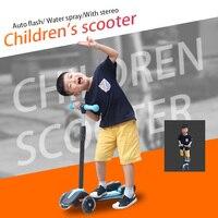 Дети скутер скейтборд 3 колеса удар скейтборд с ручкой подставкой распыления воды вспышки света игрушки для спорта ребенок электрический с
