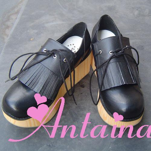 Princess sweet lolita gothic lolita shoes custom lolita nana series tassel platform shoes 999a wood princess sweet lolita gothic lolita shoes custom harajuku platform zipper style 9826 black