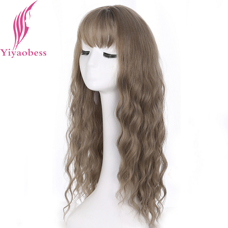 Yiyaobess 24inch Long Wavy Wig With Bangs Synthetic Hair Black Blonde Brown Linen Rattan Silver Grey Woman Wigs For Party