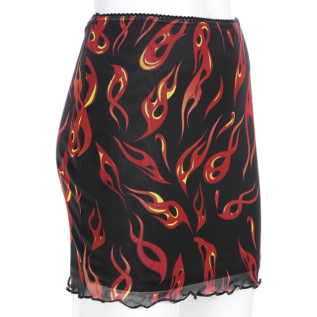 Sweetown Patchwork Mesh Sexy Skirt Harajuku Kawaii Streetwear Flaming Fire Print Skirts Womens Double Layer High Waist Skirt 5